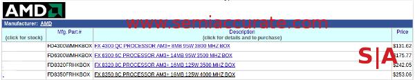 AMD Vishera etailer listing