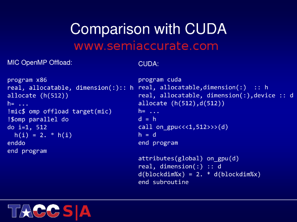 Stampede MIC vs cuda What does it take to code for a Xeon Phi?