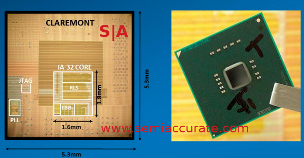 Intel Claremont die and package pictures