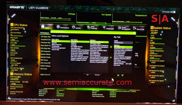 New Gigabyte BIOS screen with user configuration