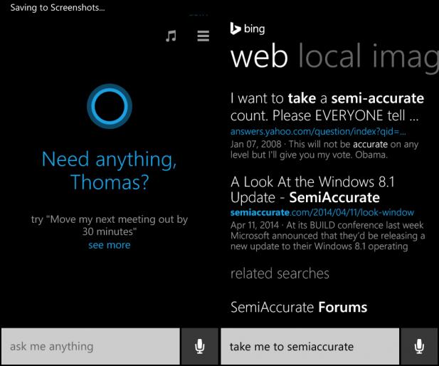 Cortana semiaccurate