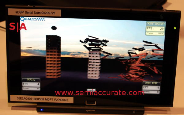 Qualcomm MARE physics demo on a Snapdragon 805 demo system
