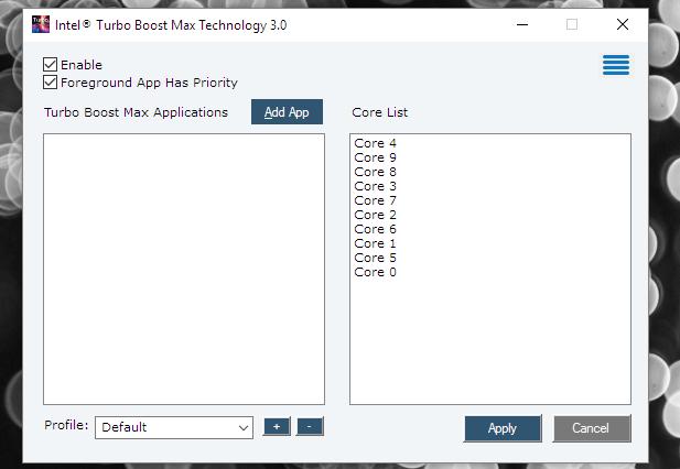 Intel TBMT app
