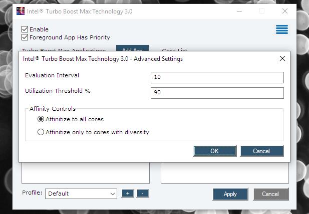 Intel TBMT app profiles