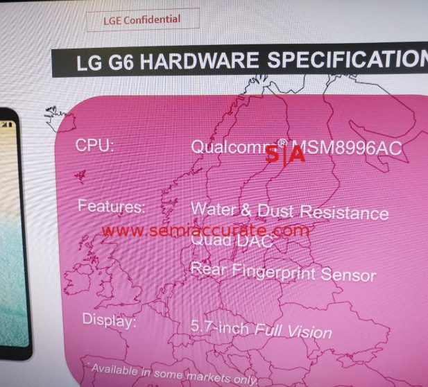 LG G6 partial Specs including Snapdragon 821