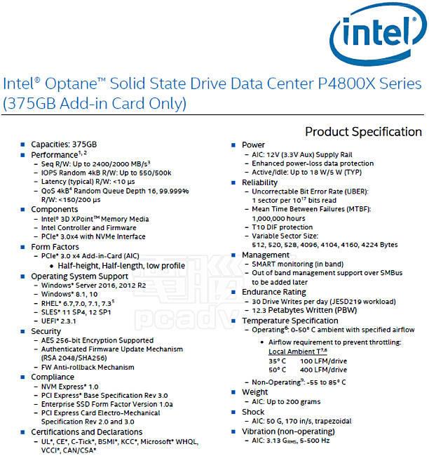 Intel DC P4800X from Techbang