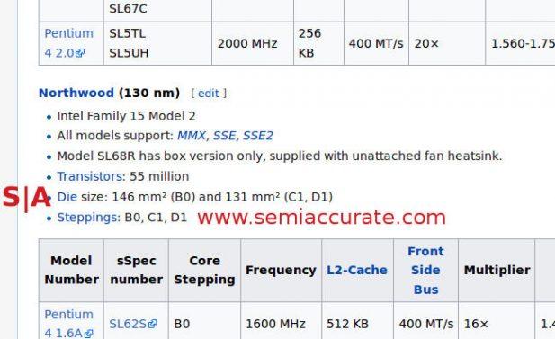 Northwood Pentium 4 revisions from Widipedia