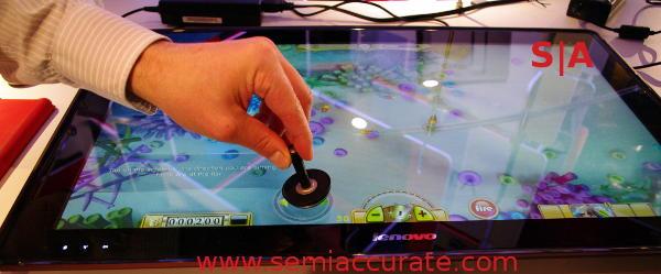 Lenovo IdeaCentre Horizon in Aura with a striker
