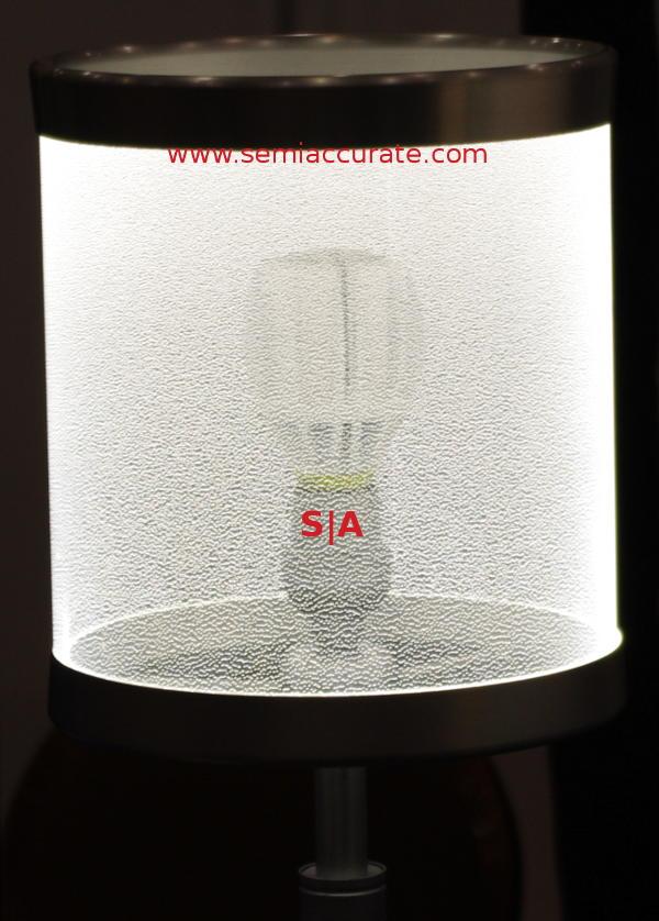 Rambus LED bulb inside Rambus lamp shade