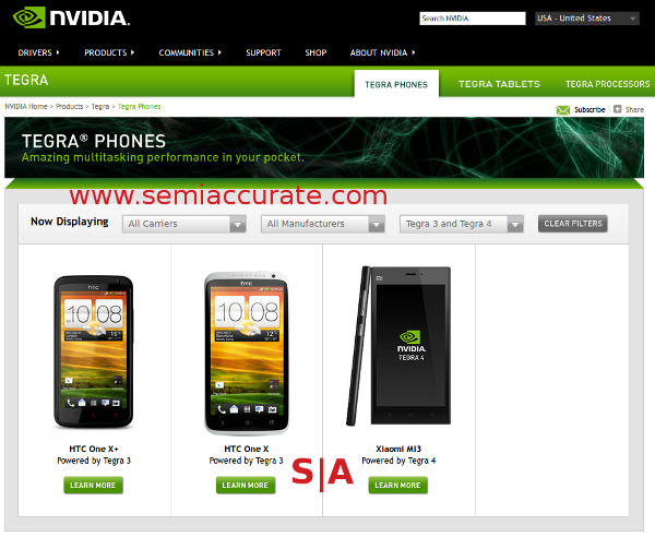 Nvidia phone listings for Tegra 3 and 4
